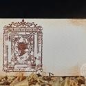 """""""Szecesszió"""" ültetőkártya, Esküvő, Esküvői dekoráció, Meghívó, ültetőkártya, köszönőajándék, Egyedi készítésű ültetőkártya, melyet strukturált felületű kartonra nyomdázással (nem nyomtatással) ..., Meska"""