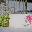 """""""Peony"""" ültetőkártya, Esküvő, Esküvői dekoráció, Meghívó, ültetőkártya, köszönőajándék, Egyedi készítésű ültetőkártya, melyet strukturált felületű kartonra nyomdázással (nem nyomtatással) ..., Meska"""