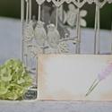 """""""Antik levendula"""" ültetőkártya, Esküvő, Esküvői dekoráció, Meghívó, ültetőkártya, köszönőajándék, Egyedi készítésű ültetőkártya, melyet strukturált felületű kartonra nyomdázással (nem nyomtatással) ..., Meska"""