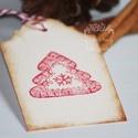 """""""Karácsonyfa"""" karácsonyi ajándékkísérő, Karácsonyi, adventi apróságok, Ajándékkísérő, képeslap, Karácsonyi dekoráció, Egyedi készítésű karácsonyi ajándékkísérő, melyet strukturált felületű kartonra nyomdázással készíte..., Meska"""