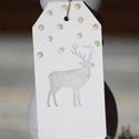"""""""Hóesés"""" karácsonyi ajándékkísérő, Dekoráció, Ünnepi dekoráció, Karácsonyi, adventi apróságok, Ajándékkísérő, képeslap, Karácsonyi dekoráció, Egyedi készítésű karácsonyi ajándékkísérő, melyet strukturált felületű kartonra pecséttel készítette..., Meska"""