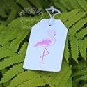 """""""Flamingó"""" ajándékkísérő, Dekoráció, Naptár, képeslap, album, Ünnepi dekoráció, Ajándékkísérő, Papírművészet, Egyedi készítésű ajándékkísérő, melyet strukturált felületű kartonra pecséttel készítettem.   Az ár..., Meska"""