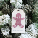 """""""Csillámos mézeskalács"""" ajándékkísérő, Dekoráció, Ünnepi dekoráció, Karácsonyi, adventi apróságok, Ajándékkísérő, képeslap, Egyedi készítésű karácsonyi ajándékkísérő, melyet strukturált felületű kartonra csillámos karácsonyi..., Meska"""