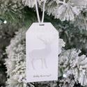 """""""Csillámos szarvas"""" ajándékkísérő, Dekoráció, Ünnepi dekoráció, Karácsonyi, adventi apróságok, Ajándékkísérő, képeslap, Egyedi készítésű karácsonyi ajándékkísérő, melyet strukturált felületű kartonra csillámos karácsonyi..., Meska"""