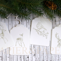 """""""Erdei állatok"""" ajándékkísérő, Dekoráció, Ünnepi dekoráció, Karácsonyi, adventi apróságok, Ajándékkísérő, képeslap, Egyedi készítésű karácsonyi ajándékkísérő, melyet strukturált felületű kartonra pecséttel készítette..., Meska"""