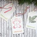 """""""Klasszikus karácsony"""" ajándékkísérő, Dekoráció, Ünnepi dekoráció, Karácsonyi, adventi apróságok, Ajándékkísérő, képeslap, Papírművészet, Egyedi készítésű karácsonyi ajándékkísérő, melyet strukturált felületű kartonra pecséttel készített..., Meska"""