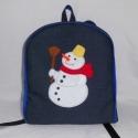 Hóemberes hátizsák , Táska, Baba-mama-gyerek, Játék, Hátizsák, Farmer és pamut anyagból készült ez táska, az elejére a hóembert filcből szabtam. A jó tartás érdeké..., Meska