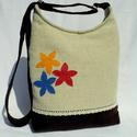 Női táska színes virágokkal, Táska, Válltáska, oldaltáska, Tarisznya, Szatyor, Elegáns női táska. Alapanyaga erős vászon és barna kordbársony, pamutszövettel bélelt. Az e..., Meska