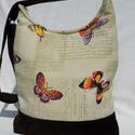 Színes pillangós női táska, Táska, Válltáska, oldaltáska, Tarisznya, Szatyor, Elegáns női táska. Alapanyaga erős vászon és barna kord, pamutszövettel bélelt. A jó tartás érdekébe..., Meska