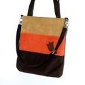 Háromszínű női táska, Táska, Válltáska, oldaltáska, Tarisznya, Szatyor, Praktikus, jól pakolható, divatos női táska.  Alapanyaga barna és rozsdaszínű és beige kordbársony. ..., Meska
