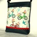 Biciklis női táska, Táska, Válltáska, oldaltáska, Tarisznya, Szatyor, Sportos kis női táska. Alapanyaga designer pamutvászon és sötétkék textilbőr. Piros csipkeszalaggal ..., Meska