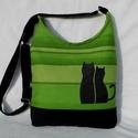 Cica románc - női táska/ zöld, Táska, Tarisznya, Válltáska, oldaltáska, Szatyor, Varrás, Sikkes női táska cicákkal díszítve:) Alapanyaga erős, zöld csíkos vászon, és fekete kordbársony. A ..., Meska