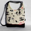 Macskák - női táska, Táska, Tarisznya, Válltáska, oldaltáska, Szatyor, Varrás, Sikkes női táska macskákkal. Alapanyaga erős mintás vászon, és fekete kordbársony. Bordó szaténszal..., Meska