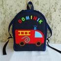 Tűzoltóautós hátizsák , Táska, Baba-mama-gyerek, Hátizsák, Tarisznya, Varrás, Rendelésre készült ez a szép színes kis táska. Ha neked is tetszik, szívesen készítek hasonlót tets..., Meska