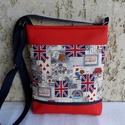 LONDON - női táska, Táska, Válltáska, oldaltáska, Tarisznya, Szatyor, Varrás, Igazi vagány, vidám női táska. Alapanyaga mintás pamutvászon és piros textilbőr. Bélése bézs pamuts..., Meska
