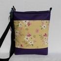 Virágos női táska / lila, Táska, Válltáska, oldaltáska, Tarisznya, Szatyor, Elegáns női táska virágokkal. Alapanyaga erős pamutvászon és lila textilbőr.  Bélése beige..., Meska