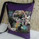 Lepkés női táska / lila, Táska, Válltáska, oldaltáska, Tarisznya, Szatyor, Elegáns női táska indákkal, pillangóval. Alapanyaga designer pamutvászon és lila textilbőr. ..., Meska