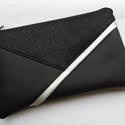 Borítéktáska - fekete/ezüst, Ruha, divat, cipő, Táska, Pénztárca, tok, tárca, Szatyor, Elegáns, alkalmi borítéktáska. Alapanyaga fekete textilbőr, bélése beige pamut. Ezüst színű textilbő..., Meska