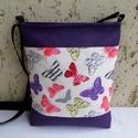 Lepkés női táska / lila, Táska, Válltáska, oldaltáska, Tarisznya, Szatyor, Elegáns női táska pillangókkal. Alapanyaga mintás pamutvászon és lila textilbőr.  Bélése b..., Meska