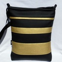 Csíkos női táska / fekete-arany, Táska, Ruha, divat, cipő, Válltáska, oldaltáska, Szatyor, Sportosan elegáns női táska. Alapanyaga fekete és arany színű textilbőr, bélése beige pamut..., Meska