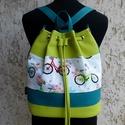 Biciklis hátizsák / batyu, Táska, Hátizsák, Tarisznya, Válltáska, oldaltáska, Vidám női táska biciklikkel :) Praktikus, hordható válltáskaként és átvetve is. Pár apró mozdulattal..., Meska