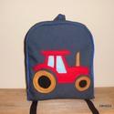 Traktoros hátizsák - feketekata0727 részére, Táska, Baba-mama-gyerek, Játék, Hátizsák, Farmer és pamut anyagból készült ez táska, az elejére a mintát filcből szabtam. A jó tartá..., Meska
