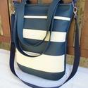 Kék-krém / csíkos női táska, Táska, Válltáska, oldaltáska, Pénztárca, tok, tárca, Tarisznya, Nagyon elegáns, praktikus, jól pakolható, divatos női táska.  Alapanyaga tengerészkék és krém színű ..., Meska