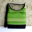 Zöld csíkos női táska , Táska, Tarisznya, Válltáska, oldaltáska, Szatyor, Divatos női táska. Alapanyaga erős, zöld csíkos vászon, és fekete kordbársony.  A jó tartás érdekébe..., Meska