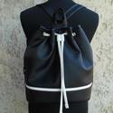 Női hátizsák / válltáska, Vagány női táska fekete és fehér színben. Pr...
