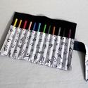 Hangjegyes ceruzatekercs, Baba-mama-gyerek, Táska, Játék, Gyerekszoba, Praktikus, helyes kis ceruzatekercs, amibe 12 db ceruza helyezhető el. Alapanyaga kívül sötétkék far..., Meska