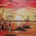 Afrikai forróság , Képzőművészet, Festmény, Akril, Festészet, A kép préselt falapra készült akril festés ,mely 3 darabol áll össze. Méretek : 26 *35 , 50*35 , 26..., Meska