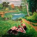 Pipacsok közt ábrándozva, Képzőművészet, Festmény, Akril, 50*40 Kemény kartonra kasírozott festő vászon,akril festmény, Meska