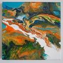 """Tengeri korallok akril festmény, Képzőművészet, Otthon, lakberendezés, Festmény, Napi festmény, kép, Festészet, A """"Tengeri korallok"""" című absztrakt festményem akril öntés technikával készült vászonra.  Mérete: 2..., Meska"""