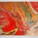 """Ősz akril festmény, Képzőművészet, Otthon, lakberendezés, Festmény, Napi festmény, kép, Festészet, Az """"Ősz"""" című absztrakt festményem akril öntés technikával készült vászonra.  Mérete: 40 X 30 cm.  ..., Meska"""
