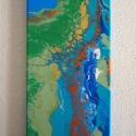 Absztrakt akril festmény, Képzőművészet, Otthon, lakberendezés, Festmény, Napi festmény, kép, Festészet,  Absztrakt festményem akril öntés technikával készült vászonra.  Mérete: 20 cm X 50 cm. Színei: kék..., Meska