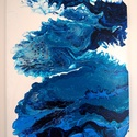 """Nagy kékség absztrakt akril festmény, Képzőművészet, Otthon, lakberendezés, Festmény, Napi festmény, kép, Festészet, A """"Nagy kékség"""" című absztrakt festményem akril öntés technikával készült vászonra.  Mérete: 40 X 5..., Meska"""