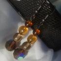 Stílusos barna fülbevaló, Ékszer, Fülbevaló, Stílusos barna fülbevaló modern nőknek cseh üveggyöngyökből. A legnagyobb gyöngy 1 cm átmérőjű. 3 cm..., Meska