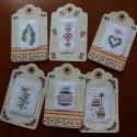 Hímzett címkék ajándékba 6 db, Hímzett címkék ajándékba 6 db Csillogósak é...