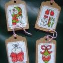 Hímzett címkék ajándékba 4 db, Hímzett címkék ajándékba 4 db Szépek, 4 kül...