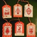 Karácsony hímzett címkék ajándékba 6 db, Dekoráció, Karácsonyi, adventi apróságok, Ajándékkísérő, képeslap, Hímzett címkék ajándékba 6 db Szépek, 6 különböző kép DMC fonál, Meska
