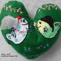 Légy örökre az enyém! szív alakú hímzett dísz, Esküvő, Dekoráció, Esküvői dekoráció, Ünnepi dekoráció, Mondd el halakkal! ? Légy örökre az enyém! szív alakú hímzett dísz  Két kis hal esküvőjük napján: mi..., Meska