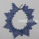 Kék gyöngyös nyaklánc, Ékszer, Nyaklánc, Szép azsúros élénk kék színű gallér-nyakék. Szép dísze lehet akár egy hétköznapi blúznak, akár egy ü..., Meska