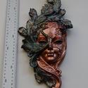 Velencei maszk 001  bronz, Képzőművészet, Dekoráció, Szobor, Dísz, Festett tárgyak, Szobrászat, Kézzel festet modellgipszből készült falra akasztható női maszk.   magasság: 40 cm szélesség: 18 cm..., Meska