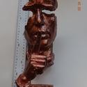 férfi arc 002, Dekoráció, Képzőművészet, Dísz, Szobor, Festett tárgyak, Modellgipszből készült,kézzel festett szobor. magasság: 32 cm szélesség: 14 cm súly: 1 kg Modellgip..., Meska