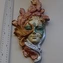 Velencei maszk 002, Dekoráció, Képzőművészet, Dísz, Szobor, Festett tárgyak, Kézzel festet modellgipszből készült falra akasztható női maszk.   magasság: 40 cm szélesség: 18 cm..., Meska