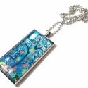 Életfa - téglalap alakú üveglencsés nyaklánc, Ékszer, óra, Nyaklánc, Ékszerkészítés, 50x25mm-es lencseátmérőjű, gyönyörű, kék színekben pompázó életfa nyakláncot alkottam. Nem egy szok..., Meska