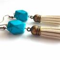 Türkenit velúrbojtos füli, Ékszer, Fülbevaló, Antik bronz szerelékkel készítettem ezt a gyönyörű türkenit (kék howlit) fülbevalót. Az á..., Meska
