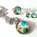 Mákvirágok tánca, Ékszer, Ékszerszett, Antik ezüst szerelékkel készítettem ezt a vidám virágos szettet. A nyaklánc 25mm, a gyűrű 1..., Meska