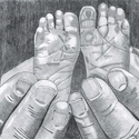 Kézben lábak, Képzőművészet, Grafika, Rajz, Fotó, grafika, rajz, illusztráció, A/4 papír, portré, ceruza (grafit) rajz készítése.  Fotó (fénykép) alapján rajzolok grafikai portré..., Meska