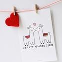 """Szerelmes lámás/alpakás """"Együtt minden szebb"""" képeslap, Saját grafikával készitett 10x15 cm-s méretű ..."""